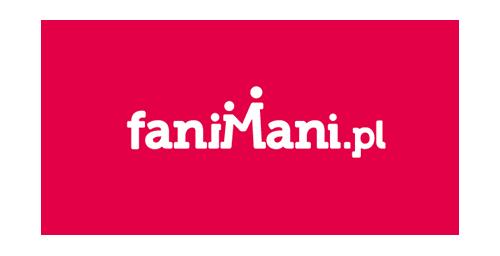 Czerwona  nieregularna plama, a na niej napis faniMani.pl